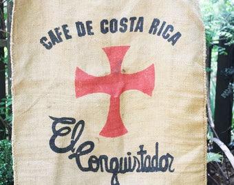 Vintage Burlap Coffee Bag, Cafe de Costa Rica, El Conquistador, Heavy Weight Jute Woven Coffee bag