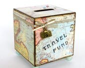 Travel Coin Bank Vintage Style Multicolor Pastel World Map Decoupaged Wood Square Vacation Savings Bank Piggy Bank