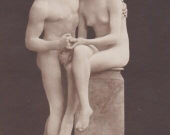 Nude Living Statue Image, German Postcard, circa 1910