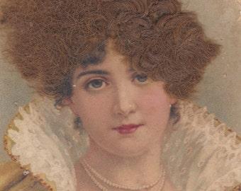 Eerie Austrian Postcard with Wig, circa 1900-1905