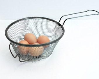 Primitive Metal Wire Colander, Rustic Basket
