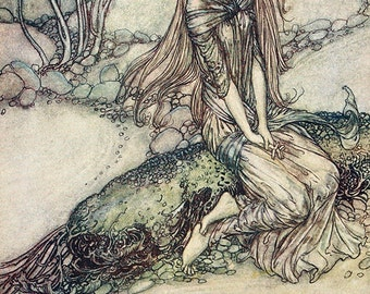 Beneath the Crystal Vault, Arthur Rackham, Vinatge Art Print