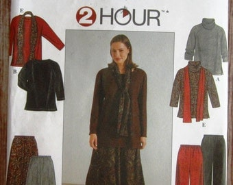 Womens Top, Skirt, Pants and Scarf Sizes 26W 28W 30W 32W 2 Hour Simplicity Pattern 8805 UNCUT