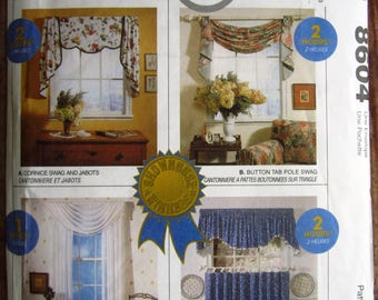 Vintage 1990s Window Treatments: Jabot Valance, Button Tab Swag, Sheer Swag, Drapes, Cafe Curtains McCalls Home-Dec Pattern 8604 UNCUT