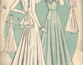 1930s Backless Evening Gown Evening Dress Princess Seams  V Neckline Shirred Back Bustle Advance 2358 Bust 32 Women's Vintage Sewing Pattern