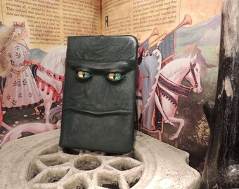 Mythical Beast Book (Dark Green leather with Yellow/Green eyes)