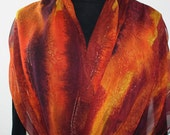 Silk Scarf Handpainted. Burgundy, Orange Hand Painted Shawl. Handmade Wrap AUTUMN EMBRACE. Large 14x72. Birthday, Mother Gift. Gift-Wrapped