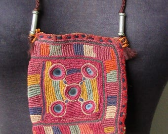 Antique Banjara Hand Stitched Embroidered Kutch Dowery Medicine Bag Pouch