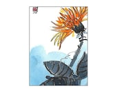 ACEO Original Watercolor & Ink Miniature Painting Impressionistic Orange Flower Mum Art Trading Card Calligraphy Strokes