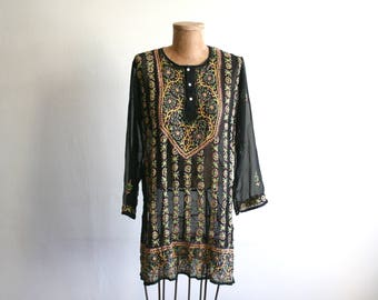 Sheer Indian Embroidered Tunic Blouse