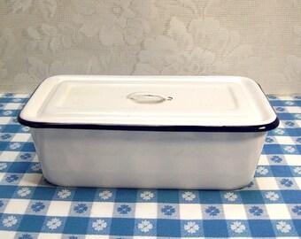 Granite Loaf Pan - Enamel Bread Pan  - White with Dark Blue Rim - With Lid - Farmhouse Chippy - Enamelware - Graniteware