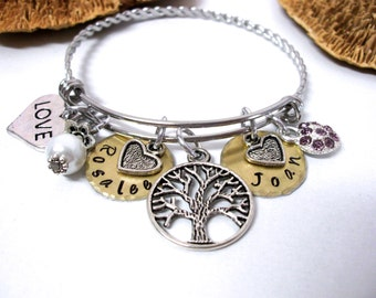 SUPER SALE Family Tree Bracelet, Personalized Jewelry, Grandma Gift, Family Tree Jewelry, Personalized Grandma Jewelry, Mommy Bracelet