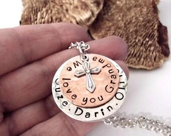 Grandma Jewelry, Mom Jewelry, Gift for Grandma, Cross Personalized Jewelry, Religious Jewelry, Grandma Jewelry, 1 to 4 Names