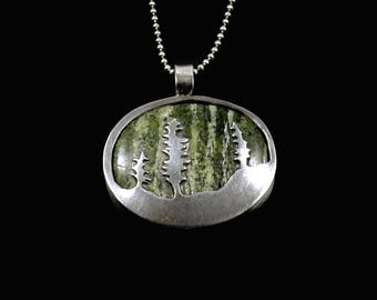 Nature Inspired Jewelry For Mom, Nature Jewelry Design, Silver Forest Jewelry, Robin Wade Jewelry, Sterling Mountains And Tree Pendant, 2434