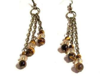 Chandelier Earrings, Triple Chain Drop Gemstone Earrings, Available in Any Gemstone, Optional Metal & Bead Type