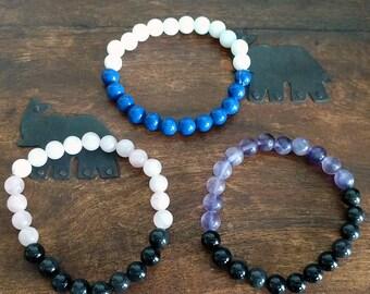 Crystal Power Bracelet, Rose Quartz Bracelet, Onyx Bracelet, Amethyst Bracelet, Milky Quartz Bracelet, Snow Quartz Bracelet, Lapis Lazuli