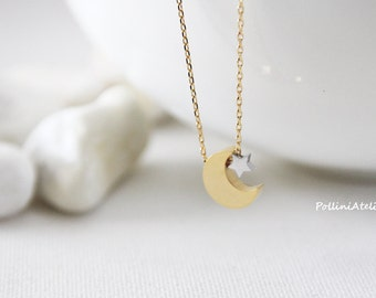 Crescent Moon and Star Necklace in Gold/ Silver. Moon Necklace. Collarbone Necklace. Layering Necklace. Timeless. Gift Fr Her (PNL- 196)