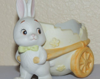 LEFTON Easter Bunny and Egg Cart Figurine