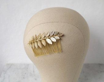 Laurel Leaf Hair Comb, Bridal Headpiece, Bridesmaid Hair Comb, Gold Hair Clip, Gold Headpiece, Bridal Party Accessories, Leaf Hair Clip