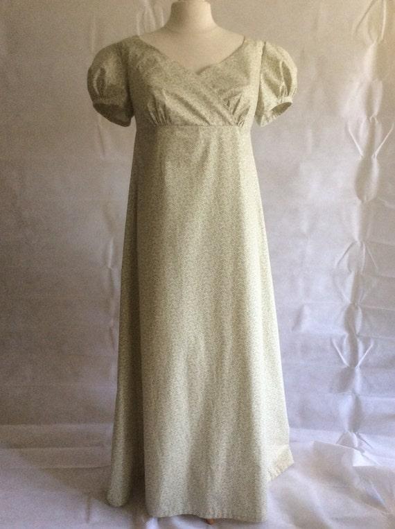 Regency Dress,Gown. Jane Austen. Ivory/Sage Green Cotton Print. Wrap front
