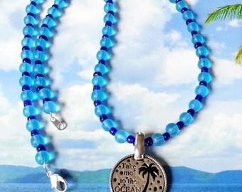 Ocean pendant blue seaglass beads beach necklace
