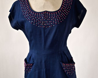 40's Navy Blue Beaded Dress Linen with Magenta Pearls and Rhinestones, Size Medium, Pockets