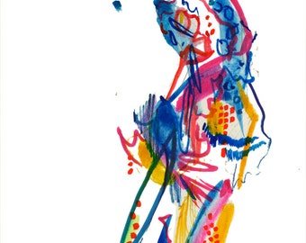 One of a Kind Abstract Dancer Figure Watercolor Painting, Original Fashion Illustration - B15