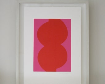 Scandinavian style Red Form, bright modern minimalist abstract print. Original screenprint, hand pulled on lovely paper by Emma Lawrenson