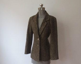 Vintage '60s Tailored, Slim Olive Green Wool Boucle Tweed Blazer, Jacket, Women's Small