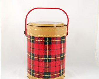 Vintage Red Plaid Skotch Kooler - Metal Cooler