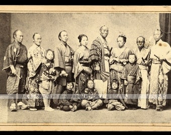 Extremely Rare c1870 CDV Photo Troupe of Japanese Performers in the US