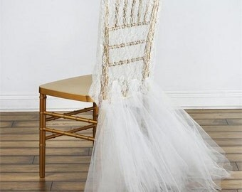 Lace Wedding Chair Cover, Wedding Chair Covers, Groom and Bride Chair Cover, Chair Cover with Tulle, Fancy Chair Cover, Chiavari Chair Cover