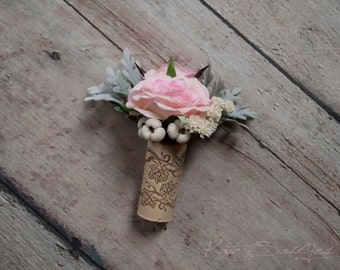 Wine Cork Boutonniere - Blush Pink Rose Boutonniere with Dusty Miller