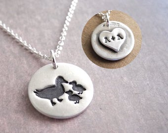 Personalized Small Mother and Two Ducklings Necklace, New Mom Necklace, Duck Monogram, Fine Silver, Sterling Silver Chain, Made To Order
