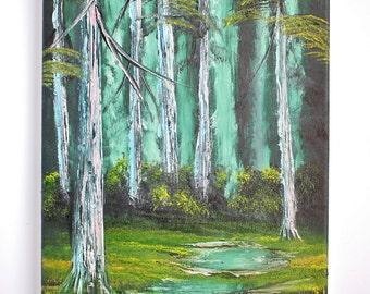 Bob Ross Oil Painting Landscape Hidden Forest Evening Emerald Sky Wilderness, 9 x 12