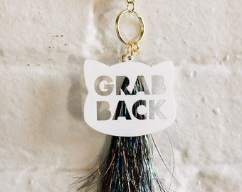 Grab Back Keychain, 1 CT with Gold Key Lobster Claw Clasps and Key Ring