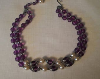 PURPLE LUCITE CHOKER  / Necklace / Pearls / Frosted / Silver / Retro / Mid-Century Modern / Rockabilly / Shabby Chic / Jewelry / Accessory