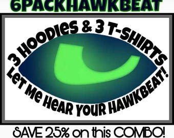 Hawkbeat 6 Pack : Hoodies & T-Shirts / Gift Pack / Seahawks Gear / Family Pack / 12s Heartbeat / Seahawks Hoodies / Seahawks Tshirt