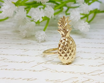 Pineapple Ring, Fruit Jewelry, Pineapple Jewelry, Gold Pineapple Ring, Summer Ring, Statement Ring, Birthday Gift for Her, Unique Rings