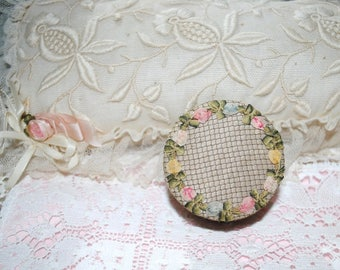 Antique POWDER BOX RIBBONWORK rosettes silk boudoir French rococò
