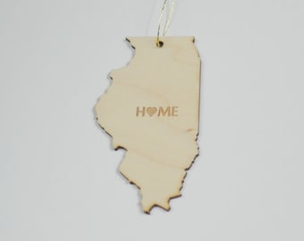 Natural Wood HOME Illinois State Ornament