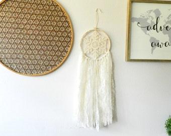Dream Catcher Wall Hanging - Bohemian Dream Catcher - Tan Dreamcatcher - Boho Dream Catcher - Lace Dream Catcher - Bohemian Wall Tapestry
