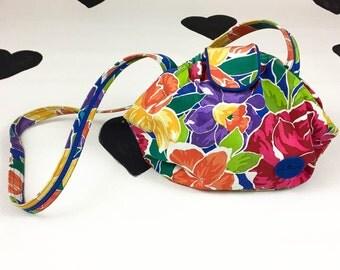 80's large tropical printed purse 1980's roomy big watercolor floral print shoulder crossbody bag / colorful / Daffodil / Hawaiian / resort