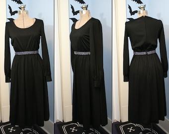 Vintage 70s Womens Modern Size XXS XS Black Rhinestone Belt Long Sleeve Dress Disco Cocktail Party