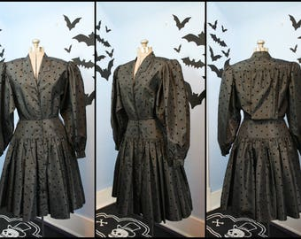 80s does 50s Womens Vintage Black Polka Dot Party Shirt Dress Modern Size Small Retro Goth Strawberry Switchblade