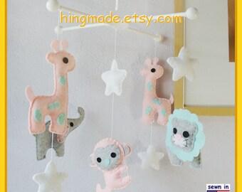 Baby Crib Mobile, Safari Mobile, Baby Girl Mobile, Elephant Giraffe Mobile, Lion Monkey in Pink Gray Turquoise, Custom Mobile