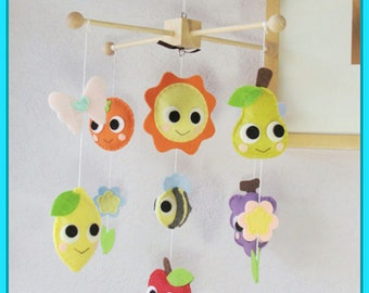 Fruits Baby Mobile, Adorable Fruits and Bee Nursery Mobile, Baby Crib Mobile, Caterpillar Kids Decor, Colorful Fruits Theme