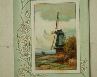 Birthday Luck - 1911 - South Bend, Indiana - Antique American Postcard - Windmill