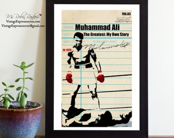Muhammad Ali, The Greatest: My Own Story, Vintage Library Card Art, Book Art, Silhouette, Print