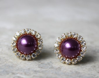 Purple Earrings, Eggplant Crystal Earrings, Aubergine Earrings, Purple Pearl Earrings, Purple and Gold Earrings, Wedding Jewelry